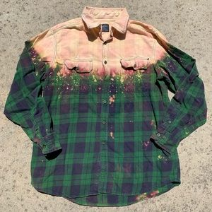 Green Bleached Flannel Button Up